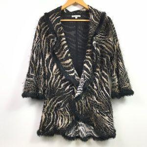 Alberto Makali Animal Print Rabbit Fur Trim Coat